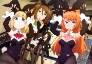 Rating: Questionable Score: 60 Tags: animal_ears ass bunny_ears bunny_girl cleavage furuichi_keisuke nikaidou_mari no_bra nopan ootori_ouka pantyhose saionji_usagi suginami_ikaruga tail taimadou_gakuen_35_shiken_shoutai User: drop