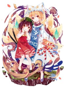 Rating: Safe Score: 24 Tags: animal_ears chen pantyhose spaderuby tail touhou yakumo_ran User: Mr_GT