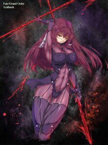 Rating: Questionable Score: 17 Tags: armor bodysuit erect_nipples fate/grand_order kamkac scathach_(fate/grand_order) thighhighs weapon User: mash