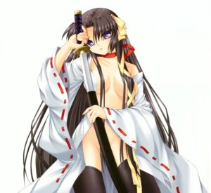 Rating: Questionable Score: 40 Tags: breasts hinoue_itaru key kurugaya_yuiko little_busters! no_bra nopan open_shirt sword thighhighs User: Kalafina