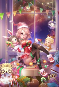 Rating: Safe Score: 21 Tags: animal_ears bunny_ears christmas cleavage dress megane pantsu qiki.z thighhighs User: Mr_GT