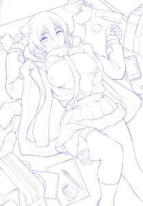 Rating: Questionable Score: 4 Tags: breasts monochrome nathaniel_pennel open_shirt panty_pull sketch User: 8mine8