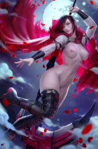 Rating: Explicit Score: 12 Tags: breasts nipples ruby_rose rwby thighhighs torn_clothes weapon zarory User: Darkthought75