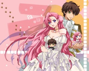 Rating: Safe Score: 15 Tags: cleavage code_geass dress euphemia_li_britannia kururugi_suzaku tsukako wallpaper wedding_dress User: Nekotsúh