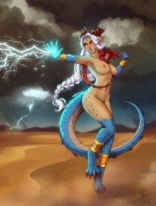 Rating: Questionable Score: 8 Tags: horns monster monster_girl naked nipples pointy_ears tail zliva User: dick_dickinson