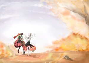 Rating: Safe Score: 13 Tags: dress inubashiri_momiji kagiyama_hina tail touhou wakie User: charunetra