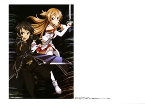 Rating: Safe Score: 23 Tags: armor asuna_(sword_art_online) kawakami_tetsuya kirito sword sword_art_online thighhighs User: drop