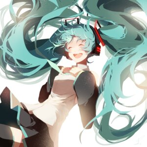 Rating: Safe Score: 35 Tags: hatsune_miku headphones saihate thighhighs vocaloid User: charunetra