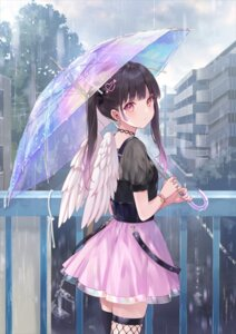 Rating: Safe Score: 43 Tags: fishnets fukahire_sanba thighhighs umbrella wings User: hiroimo2