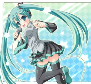 Rating: Safe Score: 27 Tags: furukawa_lemon hatsune_miku headphones thighhighs vocaloid User: cattypkung