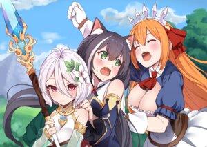 Rating: Safe Score: 31 Tags: animal_ears baicha cleavage kokkoro kyaru pecorine princess_connect princess_connect!_re:dive weapon User: fairyren