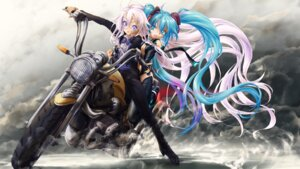 Rating: Safe Score: 15 Tags: cleavage hatsune_miku heels ia_(vocaloid) no_bra thighhighs vocaloid User: WhiteExecutor
