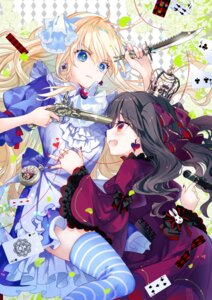Rating: Questionable Score: 20 Tags: alice alice_in_wonderland dress gun konataeru lolita_fashion skirt_lift thighhighs weapon yuri User: whitespace1