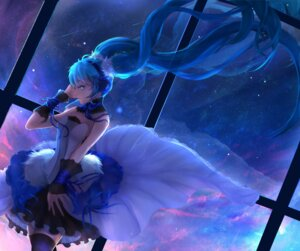 Rating: Safe Score: 34 Tags: dress hatsune_miku headphones thighhighs vocaloid yuuko_(renhaowei2010) User: mash