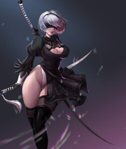 Rating: Questionable Score: 25 Tags: cleavage dress erect_nipples heels leotard nier_automata no_bra sword tagme_artist_translation thighhighs yorha_no.2_type_b 帅气的火腿子 User: mash
