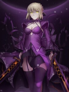 Rating: Safe Score: 60 Tags: cleavage dress fate/grand_order fate/stay_night kakekcaboel saber saber_alter stockings sword thighhighs User: Mr_GT