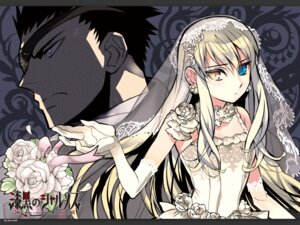 Rating: Safe Score: 16 Tags: akira_(kaned_fools) dress heterochromia mary_clarissa_christie m_(sharnoth) shikkoku_no_sharnoth wallpaper wedding_dress User: maurospider