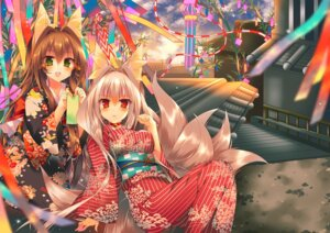 Rating: Safe Score: 56 Tags: animal_ears kitsune landscape saichuu tail yukata User: Mr_GT