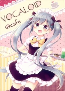Rating: Questionable Score: 19 Tags: amene_kurumi hatsune_miku maid possible_duplicate thighhighs vocaloid waitress User: Radioactive