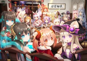 Rating: Questionable Score: 26 Tags: animal_ears asian_clothes bunny_ears cleavage horns m.vv maid mimikko_ui pointy_ears witch User: Dreista