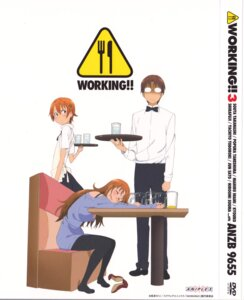 Rating: Safe Score: 9 Tags: disc_cover inami_mahiru pantyhose takanashi_kozue takanashi_souta waitress working!! User: hecfa