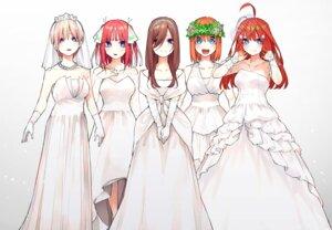 Rating: Safe Score: 34 Tags: 5-toubun_no_hanayome cleavage dress haruba_negi nakano_ichika nakano_itsuki nakano_miku nakano_nino nakano_yotsuba see_through wedding_dress User: kotorilau