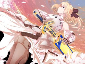 Rating: Safe Score: 34 Tags: armor fate/stay_night fate/unlimited_codes minazuki_randoseru saber saber_lily sword User: animeprincess