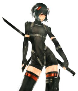 Rating: Safe Score: 91 Tags: 2d 4hands bodysuit ghost_in_the_shell kusanagi_motoko sword thighhighs User: Radioactive