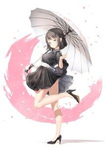 Rating: Questionable Score: 28 Tags: dress heels keibeam skirt_lift umbrella User: BattlequeenYume