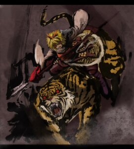 Rating: Safe Score: 4 Tags: hoshitetsu_ringo tiger toramaru_shou touhou weapon User: Mr_GT