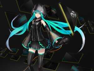 Rating: Safe Score: 46 Tags: hatsune_miku headphones thighhighs vocaloid yucca-612 User: Zenex