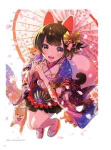Rating: Safe Score: 35 Tags: animal_ears kimono morikura_en tail umbrella User: Nepcoheart