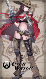 Rating: Questionable Score: 42 Tags: bra captain_chengsi cleavage genderswap gun mccree_(overwatch) mecha_musume overwatch pantsu stockings thighhighs User: Mr_GT