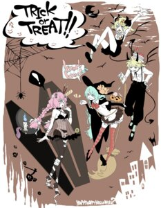 Rating: Safe Score: 15 Tags: bandages halloween hatsune_miku kagamine_len kagamine_rin megurine_luka see_through tail thighhighs toadstool vocaloid User: Radioactive