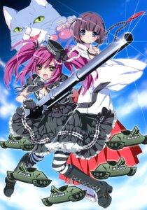 Rating: Safe Score: 14 Tags: dress gun kamiya_maneki miko neko pantyhose User: crim