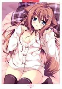 Rating: Questionable Score: 70 Tags: animal_ears bottomless breasts hellrun no_bra open_shirt sweater tail thighhighs User: drop