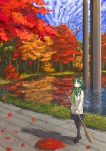 Rating: Safe Score: 20 Tags: kitano_(kitanosnowwhite) kochiya_sanae landscape pantyhose seifuku touhou User: Romio88
