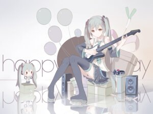 Rating: Safe Score: 63 Tags: chibi guitar hatsune_miku headphones red_flowers tattoo thighhighs vocaloid User: charunetra