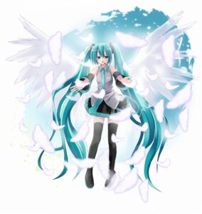 Rating: Safe Score: 10 Tags: hatsune_miku kiriya_haruhito thighhighs vocaloid User: Radioactive