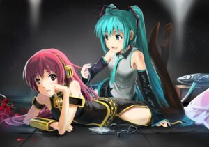 Rating: Safe Score: 18 Tags: hatsune_miku megurine_luka streamingsun thighhighs vocaloid User: charunetra
