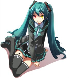Rating: Safe Score: 27 Tags: hatsune_miku heterochromia seifuku tattoo thighhighs tsukishiro_saika vocaloid User: Mr_GT