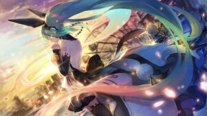 Rating: Safe Score: 38 Tags: hatsune_miku headphones tattoo thighhighs verus vocaloid User: Mr_GT