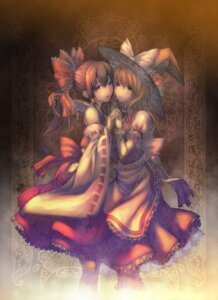 Rating: Safe Score: 30 Tags: hakurei_reimu kirisame_marisa shiroi_karasu symmetrical_docking touhou witch User: Mr_GT