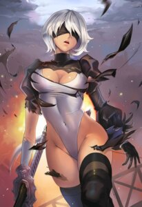 Rating: Safe Score: 73 Tags: cleavage dantewontdie leotard sword thighhighs torn_clothes yorha_no.2_type_b User: Mr_GT