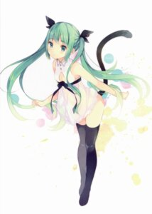 Rating: Safe Score: 129 Tags: cleavage dress hatsune_miku ousaka_nozomi tail thighhighs vocaloid User: yong