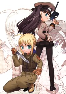 Rating: Safe Score: 15 Tags: fate/stay_night gun hirai_yukio pantyhose saber toosaka_rin type-moon uniform User: Radioactive