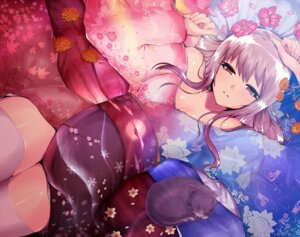 Rating: Safe Score: 79 Tags: cleavage kasai_shin kimono neko thighhighs User: blooregardo