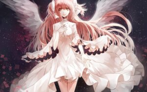 Rating: Safe Score: 26 Tags: cleavage cui_(jidanhaidaitang) dress puella_magi_madoka_magica thighhighs ultimate_madoka wings User: Mr_GT