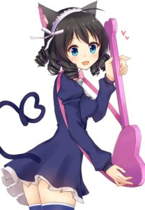 Rating: Safe Score: 25 Tags: animal_ears cyan_(show_by_rock!!) dress guitar nekomimi nikitan show_by_rock!! tail thighhighs User: blooregardo