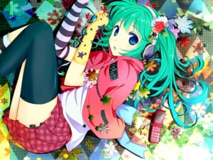 Rating: Safe Score: 47 Tags: hatsune_miku headphones liuli thighhighs vocaloid wallpaper User: charunetra